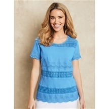 Lace Trim Crinkle Top