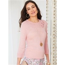 Flowers 3/4 Sleeve Sweater