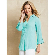 Embroidered Hem Crinkle Shirt