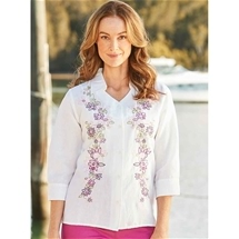 Embroidered Linen & Cotton Blouse