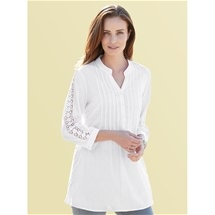Lace Trim Cotton Blouse