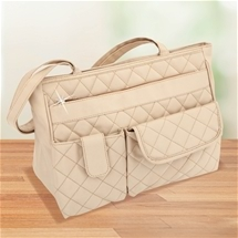 Beige Diamond Quilted Bag