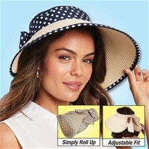 Navy Polka Dot Roll Up Hat