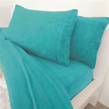 Teal Polar Fleece Sheet Queen